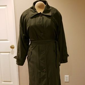 Towne by London Fog Trench Coat w/Wool Liner Green
